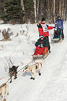 Gregg Hickmann w/Iditarider on Trail 2005 Iditarod Ceremonial Start near Campbell Airstrip Alaska SC