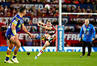 Wigan Warriors' Sam Tomkins kicks just wide from a penalty<br /> <br /> Photographer Alex Dodd/CameraSport<br /> <br /> Betfred Super League Grand Final - Wigan Warriors v Warrington Wolves - Saturday 13th October 2018 - Old Trafford - Manchester<br /> <br /> World Copyright © 2018 CameraSport. All rights reserved. 43 Linden Ave. Countesthorpe. Leicester. England. LE8 5PG - Tel: +44 (0) 116 277 4147 - admin@camerasport.com - www.camerasport.com