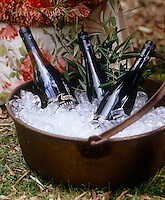 A metal cooking pot filled with ice acts as an ice-bucket for an outdoor autumn party