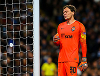 Shakhtar Donetsk's Andriy Pyatov reacts after conceding a fifth goal<br /> <br /> Photographer Alex Dodd/CameraSport<br /> <br /> UEFA Champions League Group F - Manchester City v Shakhtar Donetsk - Wednesday 7th November 2018 - City of Manchester Stadium - Manchester<br />  <br /> World Copyright &copy; 2018 CameraSport. All rights reserved. 43 Linden Ave. Countesthorpe. Leicester. England. LE8 5PG - Tel: +44 (0) 116 277 4147 - admin@camerasport.com - www.camerasport.com