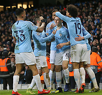 Manchester City's Phil Foden celebrates with team-mates  after scoring his sides sixth goal <br /> <br /> Photographer Rich Linley/CameraSport<br /> <br /> UEFA Champions League Round of 16 Second Leg - Manchester City v FC Schalke 04 - Tuesday 12th March 2019 - The Etihad - Manchester<br />  <br /> World Copyright © 2018 CameraSport. All rights reserved. 43 Linden Ave. Countesthorpe. Leicester. England. LE8 5PG - Tel: +44 (0) 116 277 4147 - admin@camerasport.com - www.camerasport.com
