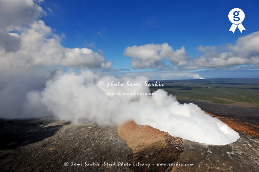 Smoking Pu'u O'o crater, aerial view, Kilauea Volcano, Big Island, Hawaii (Licence this image exclusively with Getty: http://www.gettyimages.com/detail/85071209 )