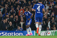 Willian of Chelsea celebrates scoring the first goal during the UEFA Champions League match between Chelsea and Maccabi Tel Aviv at Stamford Bridge, London, England on 16 September 2015. Photo by Andy Rowland.