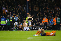 Blackpool's Tom Aldred celebrates in front of the away fans at full time<br /> <br /> Photographer Craig Mercer/CameraSport<br /> <br /> The EFL Sky Bet League Two Play-Off Semi Final Second Leg - Luton Town v Blackpool - Thursday 18th May 2017 - Kenilworth Road - Luton<br /> <br /> World Copyright &copy; 2017 CameraSport. All rights reserved. 43 Linden Ave. Countesthorpe. Leicester. England. LE8 5PG - Tel: +44 (0) 116 277 4147 - admin@camerasport.com - www.camerasport.com