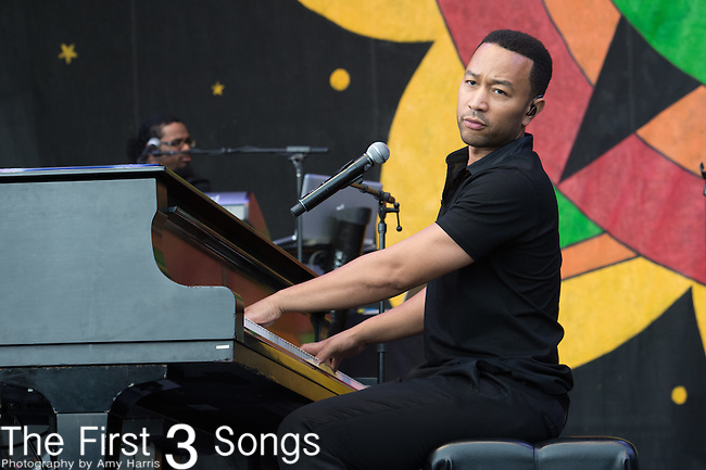 John Legend performs during the 2015 New Orleans Jazz & Heritage Festival in New Orleans, Louisiana.