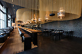 ISRAEL, Tel Aviv, Black walls and Gold Decorations as the interiors of Topolopompo restaurant