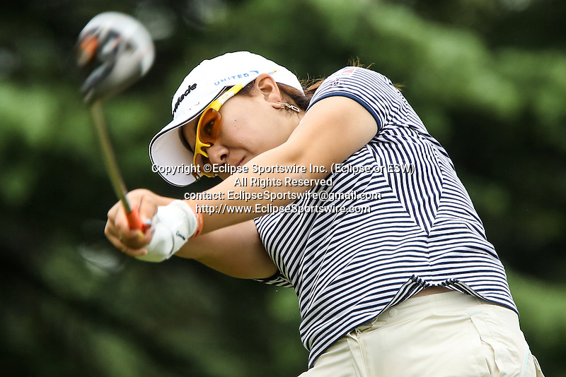 Japan's Mika Miyazato tees off on the twelfth tee at the LPGA Championship at Locust Hill Country Club in Pittsford, NY on June 7, 2013