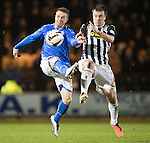 St Mirren v St Johnstone...25.03.14    SPFL<br /> Chris Millar and Paul McGowan<br /> Picture by Graeme Hart.<br /> Copyright Perthshire Picture Agency<br /> Tel: 01738 623350  Mobile: 07990 594431