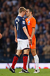Darren Fletcher goes head to head with Robin van Persie