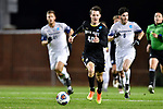 GREENSBORO, NC - DECEMBER 02: Gustav Ericsson #40 of North Park University moves the ball down the field against Messiah College during the Division III Men's Soccer Championship held at UNC Greensboro Soccer Stadium on December 2, 2017 in Greensboro, North Carolina. Messiah College defeated North Park University 2-1 to win the national title. (Photo by Grant Halverson/NCAA Photos via Getty Images)