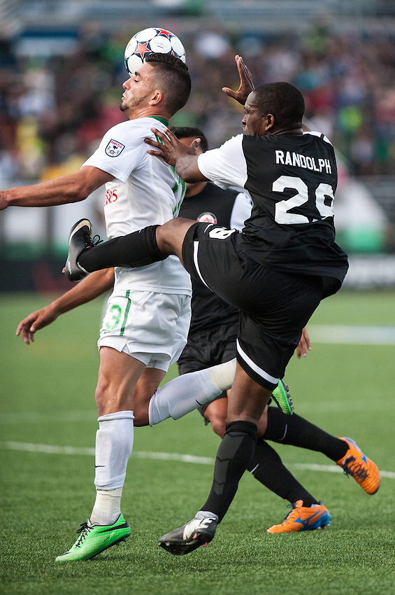HEMPSTEAD, NY – April 13: Sebastian Guenzatti of the New York Cosmos fights for the ball against the Atlanta Silverbacks during an NASL match on April 13, 2014 at  Shuart Stadium in Hempstead, New York.