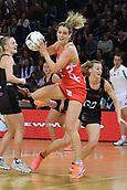 7th September 2017, Te Rauparaha Arena, Wellington, New Zealand; Taini Jamison Netball Trophy; New Zealand versus England;  Englands Sara Bayman takes a pass