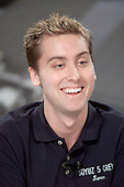 Soyuz 5 Nominated Space Flight Participant Lance Bass responds to a question during a pre-flight press  conference at the Lyndon B. Johnson Space Center in Houston, Texas on August 29, 2002..Credit: NASA via CNP