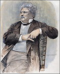 DUMAS , ALEJANDRO<br /> ESCRITOR FRANCES . 1802 - 1870<br /> GRABADO RETRATO COLOREADO<br /> ILUSTRACION ESPA&Ntilde;OLA Y AMERICANA