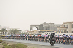 The peloton lined out during Stage 6 of the 2019 UAE Tour, running 175km form Ajman to Jebel Jais, Dubai, United Arab Emirates. 1st March 2019.<br /> Picture: LaPresse/Fabio Ferrari | Cyclefile<br /> <br /> <br /> All photos usage must carry mandatory copyright credit (© Cyclefile | LaPresse/Fabio Ferrari)