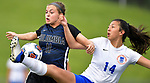 Columbia's Chloe Graff (left) and St. Teresa's Emily Birschbach battle for control of the ball in the Class 1A girls soccer supersectional game played at Columbia High School in Columbia, IL on Tuesday May 21, 2019.<br /> Tim Vizer/Special to STLhighschoolsports.com