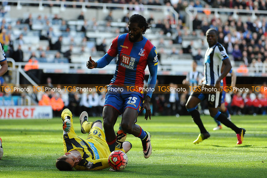 Karl Darlow of Newcastle United squanders Emmanuel Adebayor of Crystal Palace during Newcastle United vs Crystal Palace, Barclays Premier League Football at St. James' Park on 30th April 2016