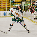 15 November 2015: University of Vermont Catamount Forward Craig Puffer, a Freshman from New Canaan, CT, in action against the University of Massachusetts Minutemen at Gutterson Fieldhouse in Burlington, Vermont. The Minutemen rallied from a three goal deficit to tie the game 3-3 in their Hockey East matchup. Mandatory Credit: Ed Wolfstein Photo *** RAW (NEF) Image File Available ***