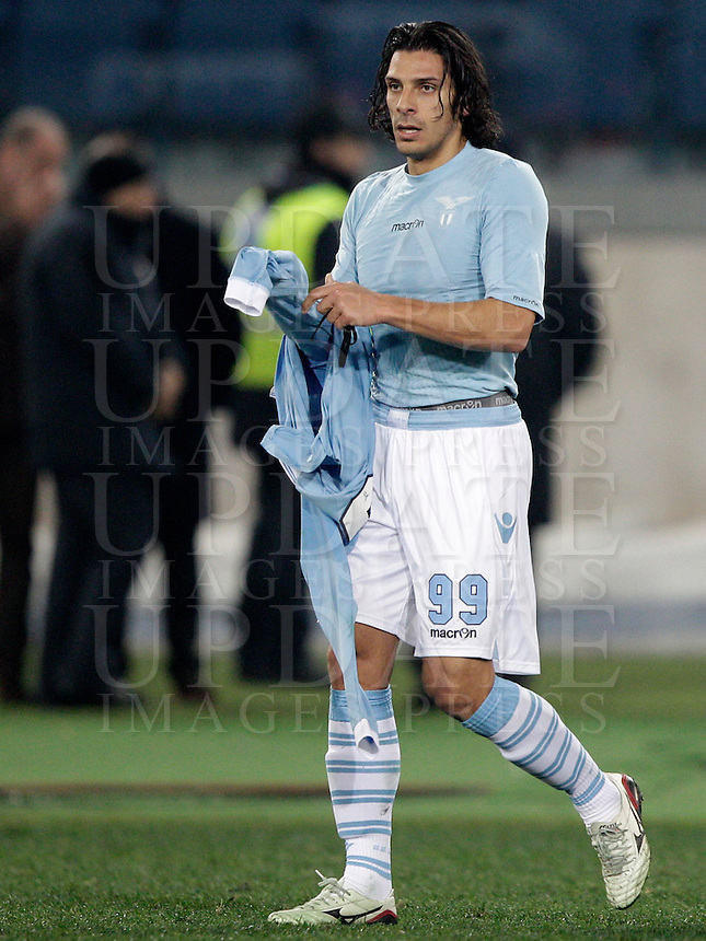 Calcio, semifinale di ritorno di Coppa Italia: Lazio vs Juventus. Roma, stadio Olimpico, 29 gennaio 2013..Lazio forward Sergio Floccari reacts after scoring the winning goal during the Italy Cup football semifinal return leg match between Lazio and Juventus at Rome's Olympic stadium, 29 January 2013. Lazio won 2-1 to reach the final match scheduled on May..UPDATE IMAGES PRESS/Riccardo De Luca