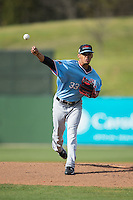 Hickory Crawdads starting pitcher Jonathan Hernandez (33) in action against the Kannapolis Intimidators at Kannapolis Intimidators Stadium on April 10, 2016 in Kannapolis, North Carolina.  The Intimidators defeated the Crawdads 10-3.  (Brian Westerholt/Four Seam Images)