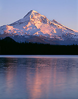 ORCAN_030 - USA, Oregon, Mount Hood National Forest, Sunset light reddens north side of Mount Hood with first snow of autumn above Lost Lake.