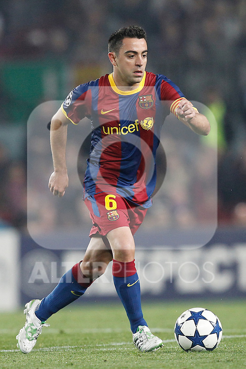 Barcelona's Xavi Hernandez during Champions League match on April, 6th 2011...Photo: Acero / Cebolla / ALFAQUI