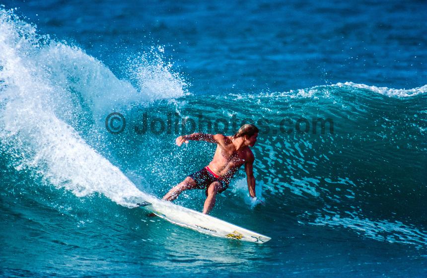 Brad Gerlach (USA) surfing at Backdoor on the North Shore of Oahu Hawaii  circa 1990 Photo: joliphotos.com
