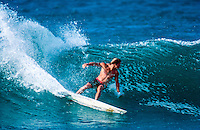 Brad Gerlach (USA) surfing at Backdoor on the North Shore of Oahu Hawaii  circa 1990 Photo: joliphotos.com