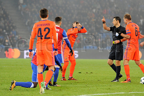 31st October 2017, St Jakob-Park, Basel, Switzerland; UEFA Champions League, FC Basel versus CSKA Moscow;  Bibras Natkho of CSKA Moscow receives a yellow card
