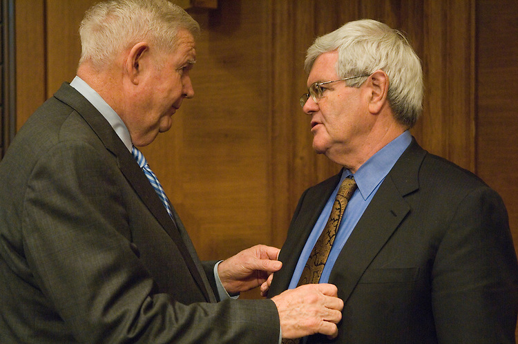 "John Murtha, D-Pa.; and former House Speaker Newt Gingrich, R-Ga. talk before the start of the  full committee hearing on ""Iraq: Alternative Plans Continued - Session 3 - Federalism, Side with the Majority, Strategic Redeployment, Negotiate."". ."