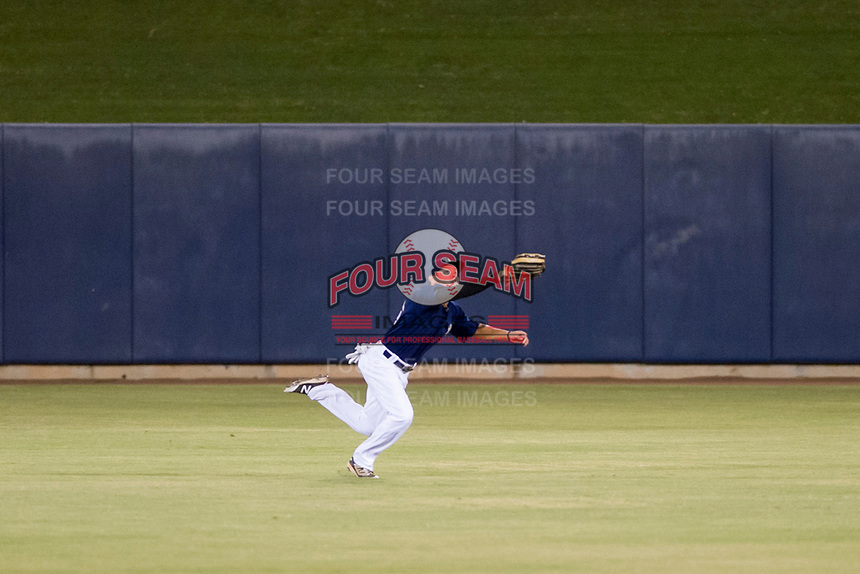 AZL Brewers center fielder Jesus Lujano (26) attempts a diving catch against the AZL Cubs on August 24, 2017 at Maryvale Baseball Park in Phoenix, Arizona. AZL Cubs defeated the AZL Brewers 9-1. (Zachary Lucy/Four Seam Images)
