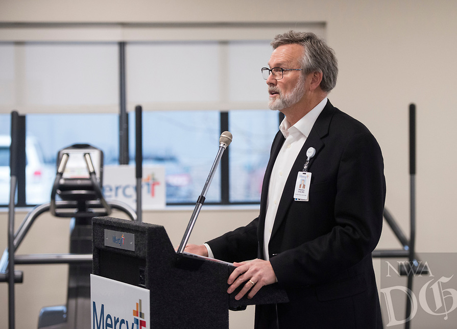 NWA Democrat-Gazette/BEN GOFF @NWABENGOFF<br /> Dr. Steve Goss, Mercy Clinic Northwest Arkansas president, speaks Wednesday, Feb. 21, 2018, during a ribbon cutting and blessing at Mercy Therapy Services on Horsebarn Road in Rogers. Mercy celebrated the renovation of the facility, quadrupling the space to 10,000 square feet, with more open exercise space, new equipment and curtained-off individual treatment rooms.
