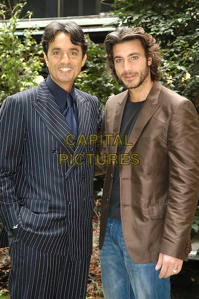 "GIULIO BASE & DANIELE LIOTTI.Photocall for the film ""L'Inchiesta"" in Rome, Italy..March 29th, 2007.half length blue pinstripe suit jacket brown beard facial hair .CAP/CAV.©Luca Cavallari/Capital Pictures"