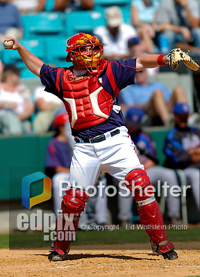 15 March 2006: Matthew LeCroy, catcher for the Washington Nationals, behind the plate during a Spring Training game against the New York Mets. The Mets defeated the Nationals 8-5 at Space Coast Stadium, in Viera, Florida...Mandatory Photo Credit: Ed Wolfstein..