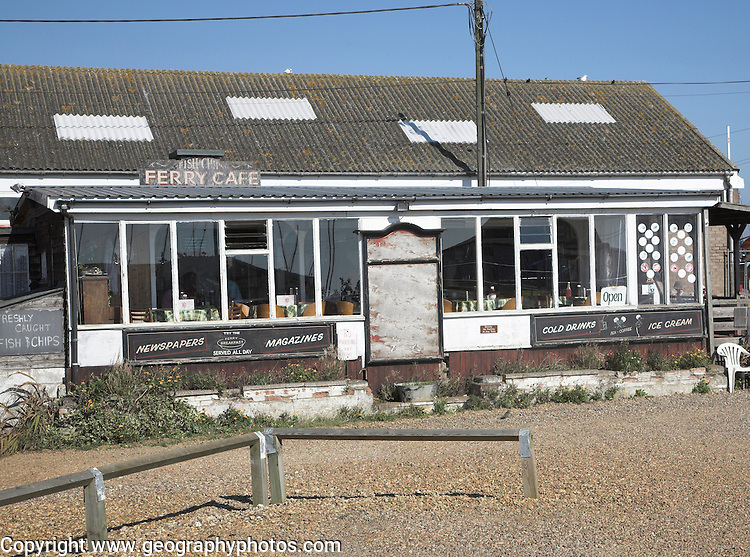 Cafe. Small fishing and sailing hamlet of Felixstowe Ferry at the mouth of the River Deben, Suffolk, England