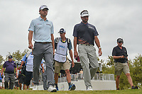 Kevin Kisner (USA) and Bubba Watson (USA) depart the first tee during day 5 of the World Golf Championships, Dell Match Play, Austin Country Club, Austin, Texas. 3/25/2018.<br /> Picture: Golffile | Ken Murray<br /> <br /> <br /> All photo usage must carry mandatory copyright credit (&copy; Golffile | Ken Murray)