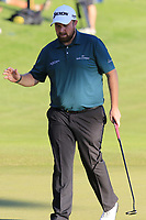 Shane Lowry (IRL) sinks his birdie putt on the 18th green during Thursday's Round 1 of the 2018 Turkish Airlines Open hosted by Regnum Carya Golf &amp; Spa Resort, Antalya, Turkey. 1st November 2018.<br /> Picture: Eoin Clarke | Golffile<br /> <br /> <br /> All photos usage must carry mandatory copyright credit (&copy; Golffile | Eoin Clarke)