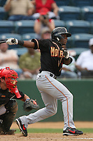 June 15 2007:Anthony Jackson of the Modesto Nuts during game against the Rancho Cucamonga Quakes at The Epicenter in Rancho Cucamonga,CA.  Photo by Larry Goren/Four Seam Image