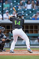 Omar Narvaez (14) of the Charlotte Knights at bat against the Columbus Clippers at BB&T BallPark on May 3, 2016 in Charlotte, North Carolina.  The Clippers defeated the Knights 8-3.  (Brian Westerholt/Four Seam Images)
