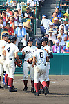 Osaka Toin team group,<br /> AUGUST 25, 2014 - Baseball :<br /> Osaka Toin players gather on the mound in the top of the ninth inning during the 96th National High School Baseball Championship Tournament final game between Mie 3-4 Osaka Toin at Koshien Stadium in Hyogo, Japan. (Photo by Katsuro Okazawa/AFLO)