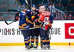 Stockholm 2014-08-21 Ishockey CHL Djurg&aring;rdens IF - Fribourg-Gotteron  :  <br /> Djurg&aring;rdens Mikael Samuelsson firar Michael Holmqvists 3-3 m&aring;l med lagkamrater<br /> (Foto: Kenta J&ouml;nsson) Nyckelord:  Djurg&aring;rden Hockey Hovet CHL Fribourg Gotteron jubel gl&auml;dje lycka glad happy