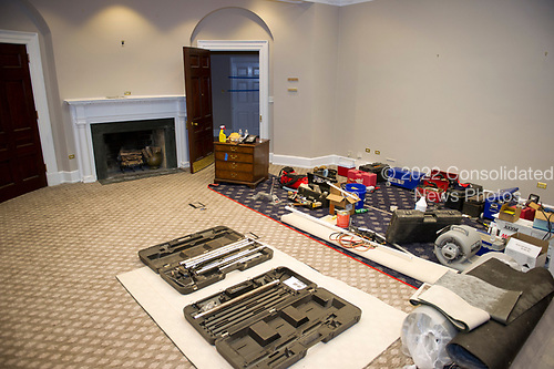 The Roosevelt Room in the White House West Wing in Washington, DC as it is undergoing renovations while United States President Donald J. Trump is vacationing in Bedminster, New Jersey on Friday, August 11, 2017.  The Roosevelt Room is being used as a staging area for worker's tools.<br /> Credit: Ron Sachs / CNP