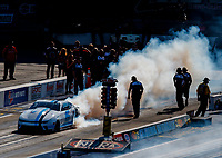 Sep 16, 2017; Concord, NC, USA; NHRA pro stock driver Tanner Gray does a burnout during qualifying for the Carolina Nationals at zMax Dragway. Mandatory Credit: Mark J. Rebilas-USA TODAY Sports