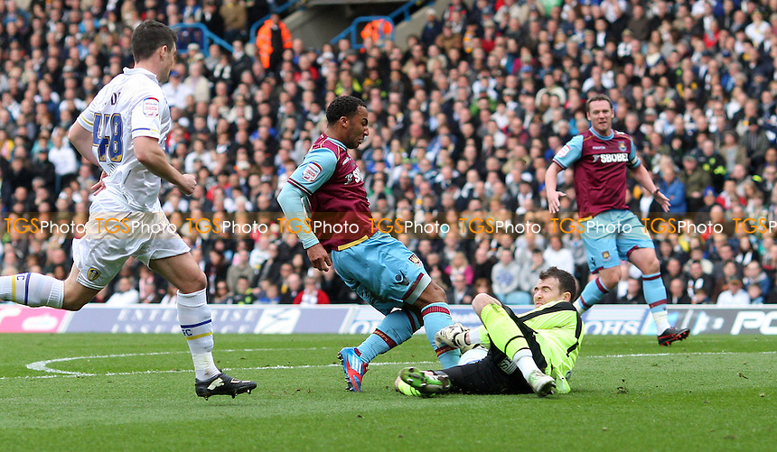 Nicky Maynard of West Ham is foiled by Leeds goalkeeper Andrew Lonergan - Leeds United vs West Ham United, npower Championship at Elland Road, Leeds - 17/03/12 - MANDATORY CREDIT: Rob Newell/TGSPHOTO - Self billing applies where appropriate - 0845 094 6026 - contact@tgsphoto.co.uk - NO UNPAID USE..