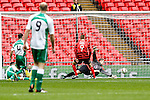 LONDON, ENGLAND - MARCH 29: Louis Moult of Wrexham (9) scores the opening goal against North Ferriby United during the FA Carlsberg Trophy Final 2015 at Wembley Stadium on March 29, 2054 in London, England. (Photo by Dacid Horn/EAP)