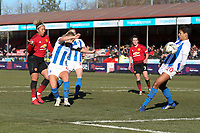 Lauren James (left) of Manchester United Women scores the first goal for her team during Brighton & Hove Albion Women vs Manchester United Women, SSE Women's FA Cup Football at Broadfield Stadium on 3rd February 2019