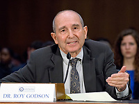 """Dr. Roy Godson, Professor of Government Emeritus, Georgetown University testifies before the United States Senate Select Committee on Intelligence as it conducts an open hearing titled """"Disinformation: A Primer in Russian Active Measures and Influence Campaigns"""" on Capitol Hill in Washington, DC on Thursday, March 30, 2017. Photo Credit: Ron Sachs/CNP/AdMedia"""