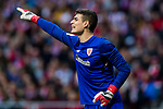 Goalkeeper Kepa Arrizabalaga Revuelta of Athletic Club de Bilbao gestures during the La Liga 2017-18 match between Atletico de Madrid and Athletic de Bilbao at Wanda Metropolitano  on February 18 2018 in Madrid, Spain. Photo by Diego Souto / Power Sport Images