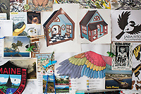 Sketches and things she likes hang on a bulletin board in Jada Fitch's living room, which doubles as her art studio, in Portland, Maine, USA, on Fri., July 28, 2017. Fitch has recently been making birdhouses that look like living rooms with small portraits of birds. The birdhouses sell out within minutes on her Etsy store.