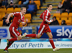 St Johnstone v Aberdeen.....07.12.13    SPFL<br /> Peter Pawlett celebrates his goal Barry Robson<br /> Picture by Graeme Hart.<br /> Copyright Perthshire Picture Agency<br /> Tel: 01738 623350  Mobile: 07990 594431